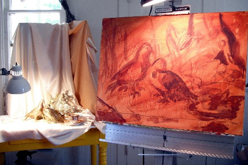 Dos Palomas step 1.  Rough sketch on toned canvas.  I've already done some pencil sketches.