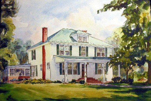 Watercolor house portrait with pen and ink overlay