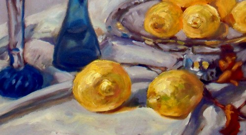 Still life, blue bottles and lemons, detail