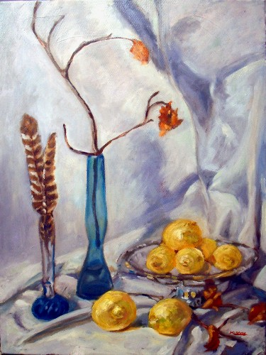Still life, blue bottles and lemons, final.  18x24 oil on canvas