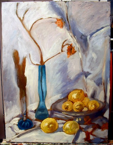 Still life, blue bottles and lemons, step 3