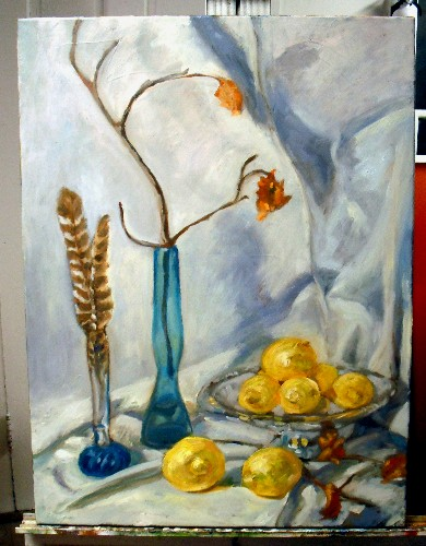 Still life, blue bottles and lemons, step 4