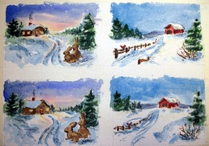 Small Christmas paintings, w/c - pen and ink, painted in multiples