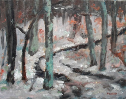 Woods in Winter, final painting, oil on canvas, 11x14