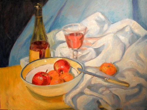 Blue-rimmed bowl, still life after Cezanne - final, 18x24, oil on canvas