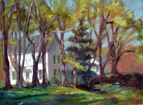 House in spring, final, oil on canvas 18 x 24