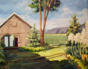 Blessinger Farm revised.  Oil on canvas, 16x20