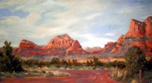Sedona, final, oil on canvas, 15 x 27, Kit Miracle