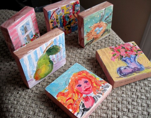 Portable artwork - mini-paintings on cedar blocks