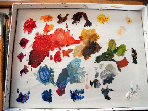 What my palette looks like with a variety of reds.  Using black to tone some of them down.
