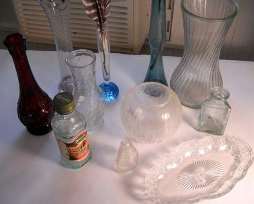 Many types of glass objects.  Some have appeared in several paintings.