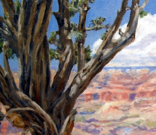 This tree in Grand Canyon at Moran Point is very loosely painted when viewed in detail.