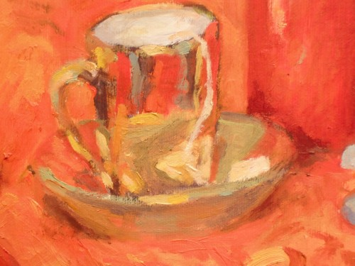 Lucky Red 2 - cup detail.  Notice how abstractly this gold cup is painted.