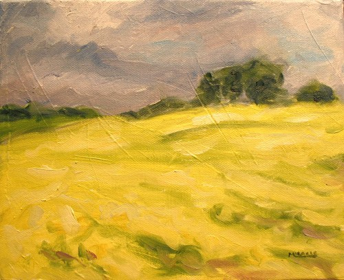 Abbett's Field from life, 8 x 10, oil