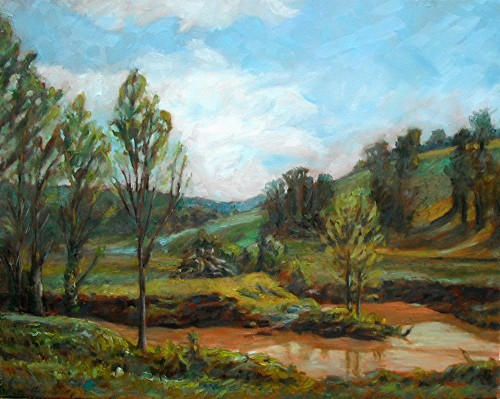 French Lick Creek, final, oil on canvas, 24x30, Kit Miracle