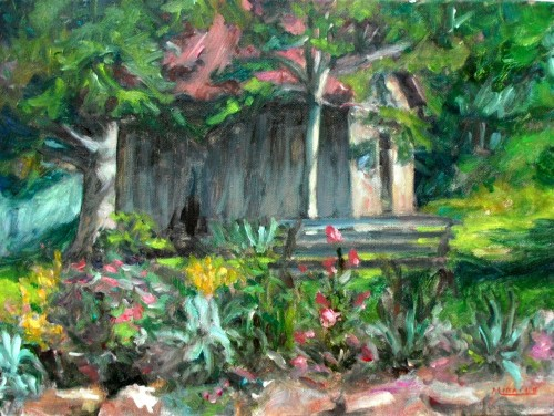 June Roses by the Woodshed, 12x16, oil on canvas, Kit Miracle