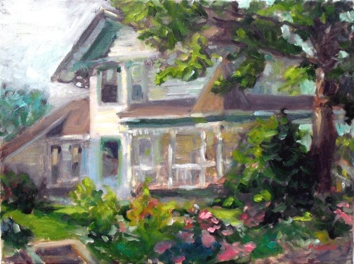 Main Street House #1, oil on canvas, 12x16, Kit Miracle