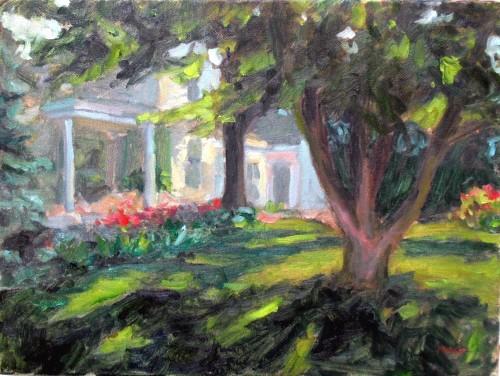 Main Street House #2, oil on canvas, 12x16, Kit Miracle