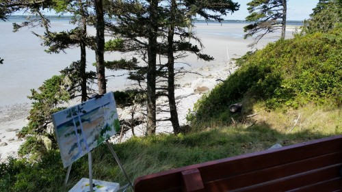 Painting at Sand Hills Beach, Nova Scotia, Kit Miracle