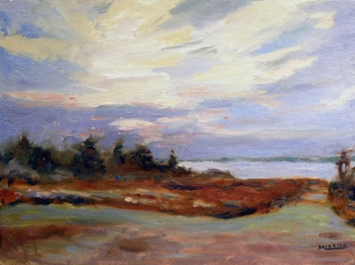 Sunrise, Nova Scotia, oil on canvas, 12x16, Kit Miracle