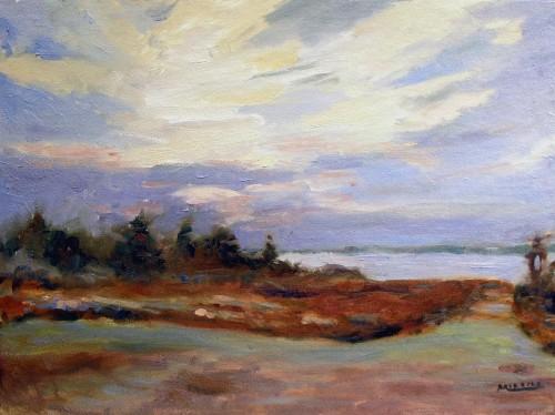 Sunrise, Nova Scotia, oil on canvas, 12x16, Kit Miracle