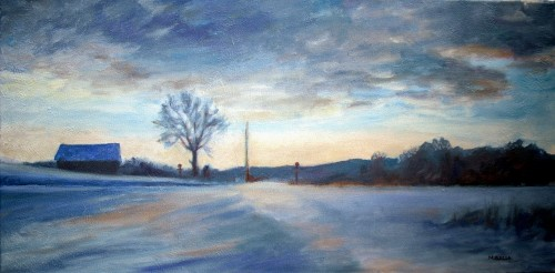 Winter in Mentor, Final, 12 x 24, oil on Canvas, Kit Miracle