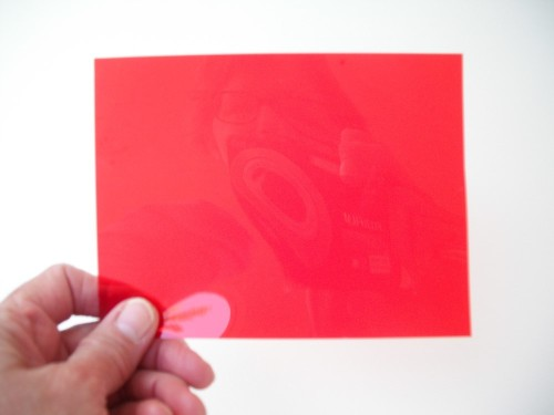 Piece of red gel, about 4 x 6