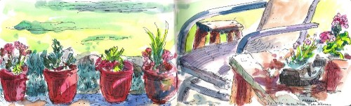On the Patio, watercolor / pen and ink, Kit Miracle