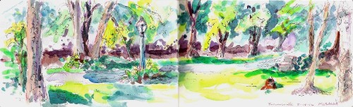 At the Riverwalk, Jasper IN, watercolor / pen and ink, Kit Miracle