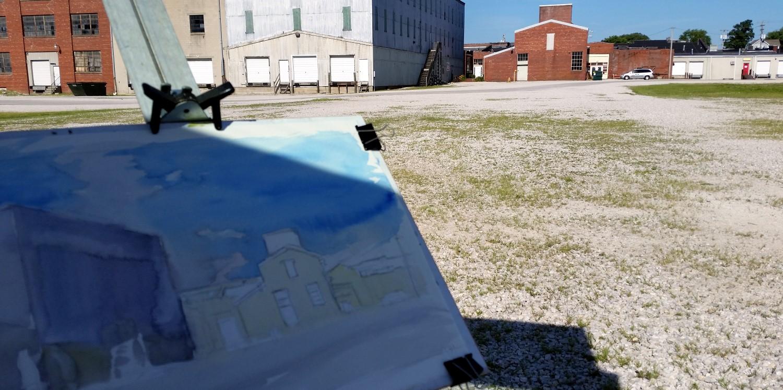 Plein air painting, Hoosier Desk Building. Beginning