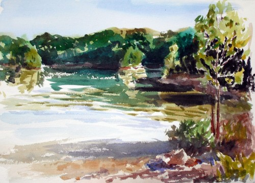 First plein air painting at Patoka Lake.  11x14, watercolor, Kit Miracle