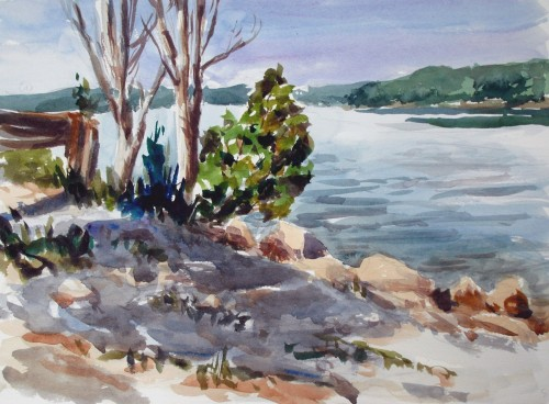 Second plein air painting at Patoka Lake, 11 x 14, watercolor, Kit Miracle
