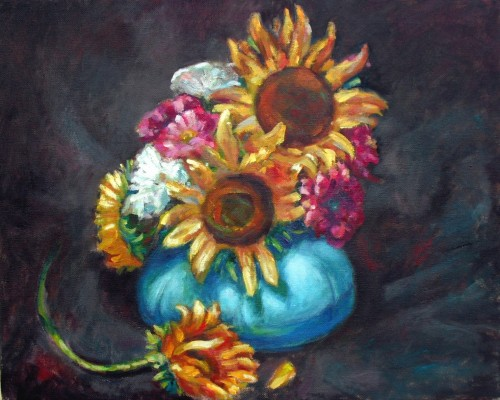 Sunflowers in blue bowl, 16 x 20, oil on canvas, Kit Miracle