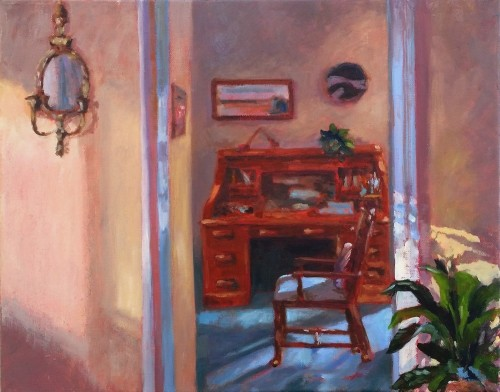 Interior with Desk, Final, oil on canvas, 16 x 20, Kit Miracle