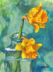 Two daffodils in glass vase, 8 x 6, acrylic on canvas wood panel, Kit Miracle