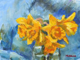 Five daffodils in glass vase, 6 x 8, acrylic on canvas wood panel, Kit Miracle