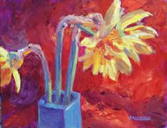 Three Daffodils in a Blue Vase - 1, 6 x 8, acrylic on canvas wood panel, Kit Miracle