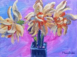 Three Daffodils in Blue Vase - 2, 6 x 8, acrylic on Canvas wood panel, Kit Miracle