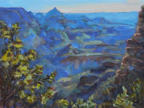 Early Morning at the Canyon, plein air sketch, acrylic, 12 x 16, Kit Miracle