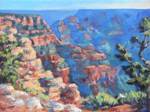 Grand Canyon Vista, plein air sketch, acrylic, 12 x 16, Kit Miracle