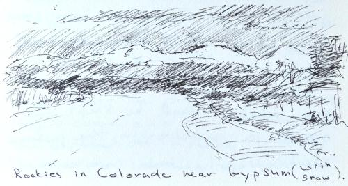 Snow Covered Rockies in Colorado, sketch, Kit Miracle