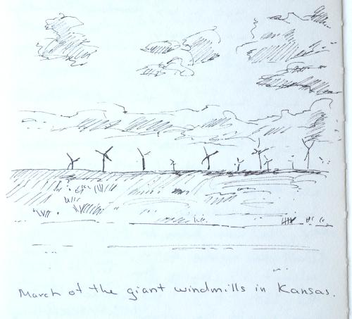 Wind farm, Kansas, sketch, Kit Miracle