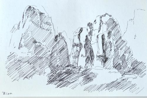 Zion National Park, sketch, Kit Miracle